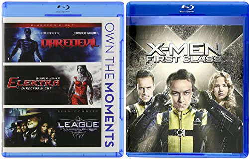 X-Men First Class Blu Ray Marvel Super Hero Daredevil / Elektra & The League of Extraordinary Gentlemen 4 Movie Comics Bundle Set