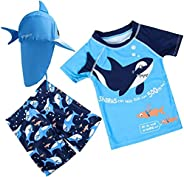 XmasPJS Baby Toddler Boys Two Piece Rash Guard Swimsuits Blue Shark Kids Short Sleeve Sunsuit Swimwear Sets wi