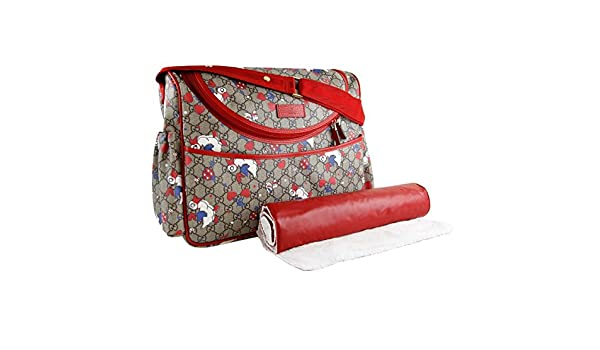 63ce7a1dc005 Amazon.com  Gucci Duck Red Zip Supreme Print GG Canvas Diaper Bag Beige Baby  Italy New  Shoes