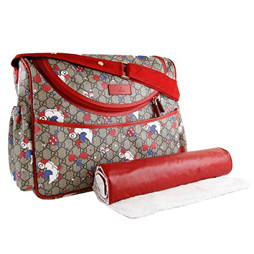 Gucci Duck Red Zip Supreme Print GG Canvas Diaper Bag Beige Baby Italy New by Gucci