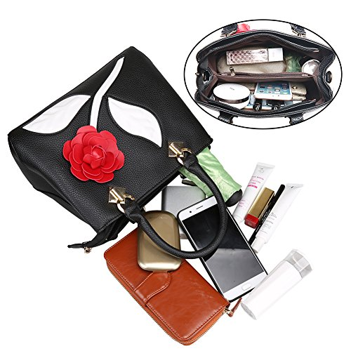 de Bequemer Mujer Moda Hombro Bolsos Bandolera de Shopper Negro Bolsos Rose de PU Cuero Laden la de Bolsos AwqtarxZnA