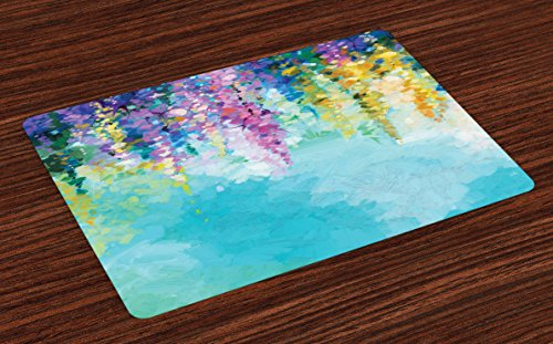 Ambesonne Flower Place Mats Set of 4, Abstract Ivy Romantic and Inspiring Landscape Spring Floral Artwork Nature Theme, Washable Fabric Placemats for Dining Room Kitchen Table Decor, Multicolor