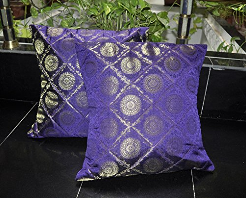 LalhaveliRajasthani Handmade Work Design Form Silk Cushion Cover 16 x 16 Inches Set Of 2 ()