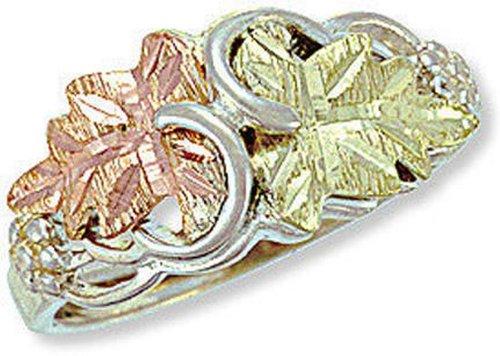 Landstroms Sterling Black Hills Silver Ladies Ring with 12k Gold Leaves - MRLLR2800