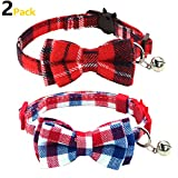 KUDES 2 Pack Set Cat Collar Breakaway with Bell and Bow Tie for Kitty and Some Puppies - Adjustable from 7.8-10.5 Inch