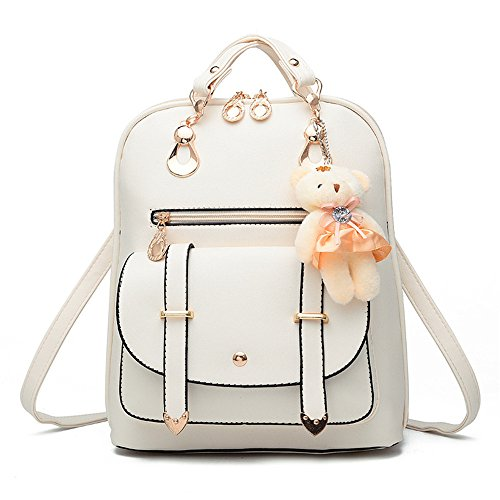 Soft Leather Backpack Lovely Schoolbag Shoulder Bag Sports Knapsack (white)