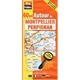 Carte routière : 60 km autour de Montpellier - Perpignan (avec index complet des communes et légende en 4 langues)