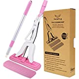 HomsHug PVA Sponge Mop with 2 Absorbent Mop Head Refills Adjustable Extension Wringer Handle Easy Clean for Hardwood Flood Kitchen Home Cleaning