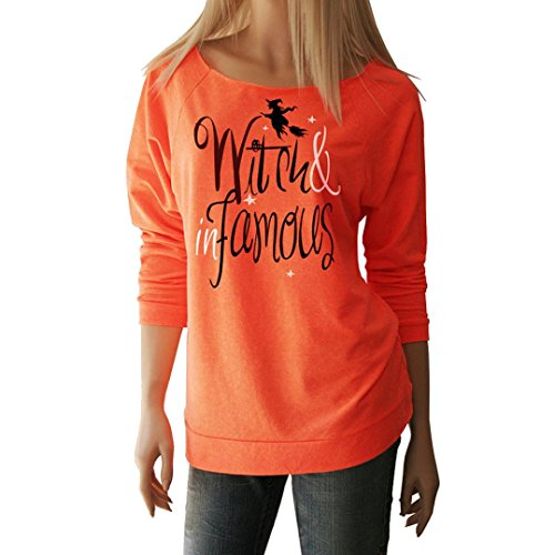 T-Shirt Halloween Women Witch In Famous Long Sleeve Tops Blouse Shirt By Haolly (Orange A, L)