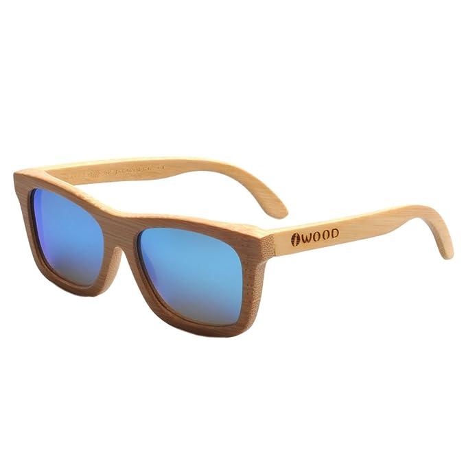Iwood Handcrafted Moda de bambú Natural Marcos Azul lente polarizada ...