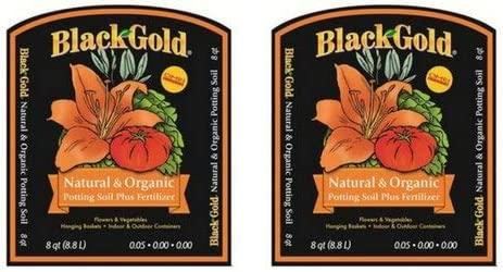 Black Gold 1302040 8-Quart All Organic Potting Soil 2 Pack