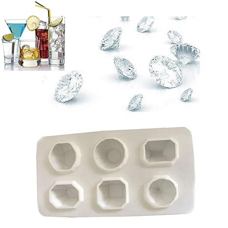 Molde de hielo, TINGSU Diamonds Gem Cool cubo de hielo chocolate jabonera molde silicona moldes