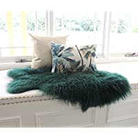Dark Green Mongolian Sheepskin Fur Hide pelt Tibetan lambskin throw rug