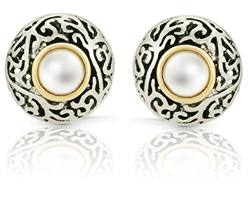 JanKuo Jewelry Two Tone Bali Antique Vintage Simulated Pearl French Clip Earrings