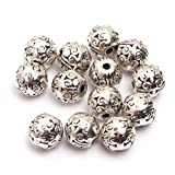 GEM-inside Bali Style Metal Antique Tibetan Silver Findings Spacer Beads Jewelry DIY Charms Pendants Loose Beads Findings Accessories 50Pcs 8x8mm (B1011)
