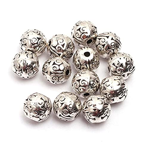 GEM-inside Bali Style Metal Antique Tibetan Silver Findings Spacer Beads Jewelry DIY Charms Pendants Loose Beads Findings Accessories 50Pcs 8x8mm - Beads And Findings
