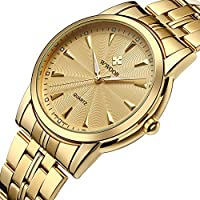 [Patrocinado] parte superior Business Reloj de pulsera Mens impermeable sencillo de cuarzo reloj ( 28-gold )