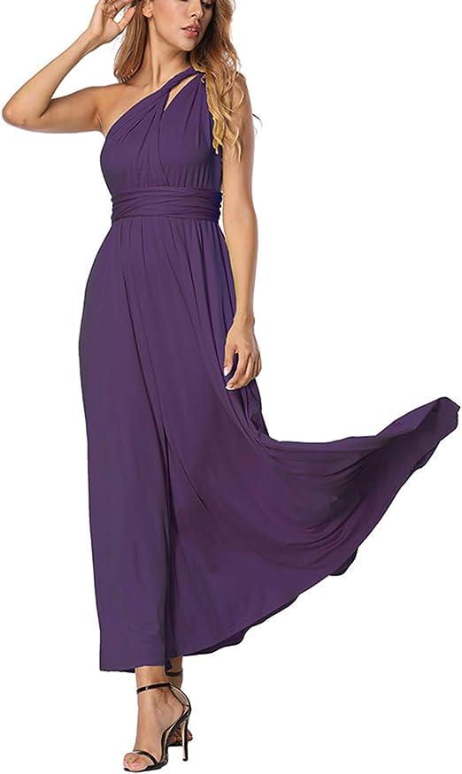 TALLA S(ES 36-40). FeelinGirl Mujer Vestido Maxi Convertible Espalda Decubierta Cóctel Multiposicion Tirantes Multi-Manera Largo Falda para Fiesta Ceremonia Sexy y Elegante Púrpura Oscuro S(ES 36-40)