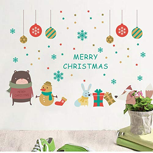 - EWQHD Lovely Animals Snowman Celebrate Christmas Wall Stickers for Home Decoration DIY Festival Mural Art Kids Room Wall Decals Poster
