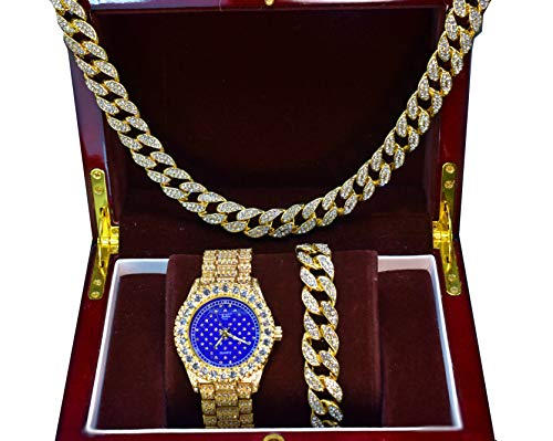 Full ICED Out 14k Gold Plated Iced Out Blue Bling Dial Watch, Cuban Necklace & Bracelet Set (Set(All of Them))
