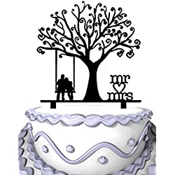 Meijiafei Wedding Cake Topper - Groom and Bride Together Under the Tree Silhouette with Script Mr & Mrs Party Decoration