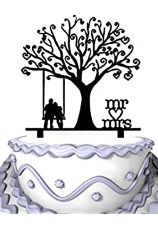 Amazon rustic wedding cake topper swing wa1054 home kitchen meijiafei wedding cake topper groom and bride together under the tree silhouette with script mr junglespirit Image collections