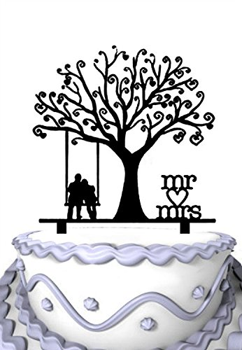 Meijiafei Wedding Cake Topper - Groom and Bride Together Under the Tree Silhouette with Script Mr & Mrs Party Decoration -