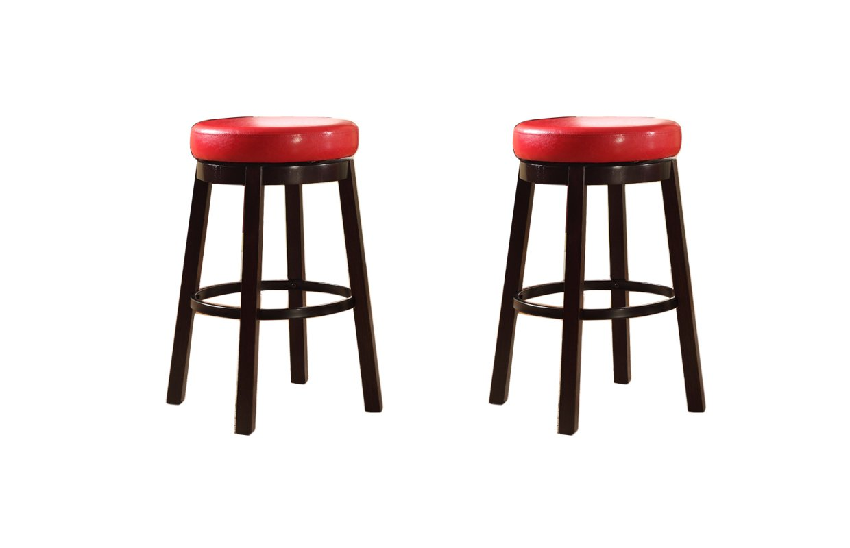 Bar Height Bister Brown Roundhill Furniture Wooden Swivel Barstools Set of 2 PC003BR
