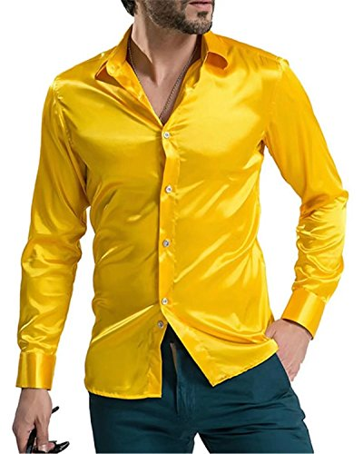 DigerLa Men's Solid Long Sleeve Silk Dance Prom Dress Shirt Yellow