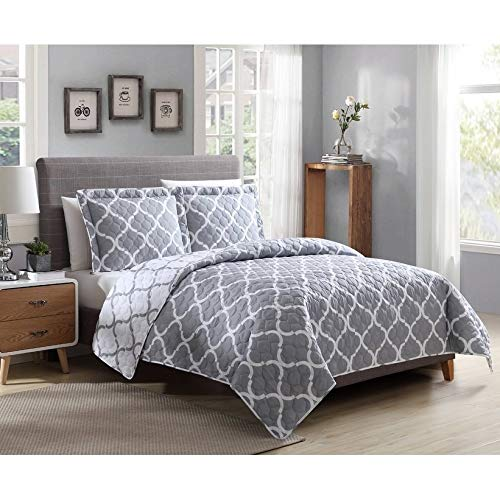 MISC Grey White Ogee Bedding Moroccan Quilt Set Queen Sized Gray Geometrical Pattern Geometric Design Polyester Reversible, 86x86-3 Piece - Lattice Quilt Pattern