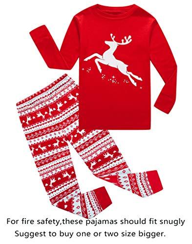 (Family Feeling Big Girls Boys Long Sleeve Christmas Pajamas Sets 100% Cotton Pyjamas Kids Pjs Size 12)