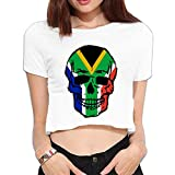 Women's South Africa Flag Skull Crop Tops Summer Short Sleeve T-Shirt Tops Blouse