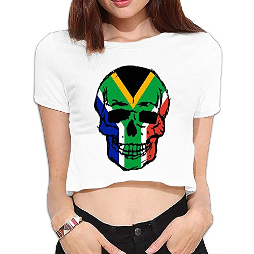 Women's South Africa Flag Skull Crop Tops Summer Short Sleeve T-Shirt Tops Blouse by Souu-7