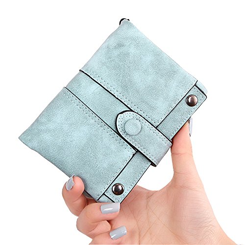 IFUNLE Womens Soft Leather Short Wallet Card Holder Change Cash Organized Large Capacity Zipper Buckle Travel Coin Purse with Detachable Wrist Strap (Light green #2) by HILINKER (Image #1)