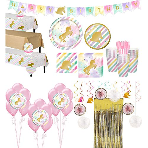 Party City Sparkling Unicorn Tableware Ultimate Kit and Supplies for 24 Guests, Includes Table Covers, Balloons and More -