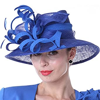 3b56c8aff1 Kueeni Women Hats New Designed Royal Blue Ladies Elegant Hats at Amazon  Women's Clothing store: