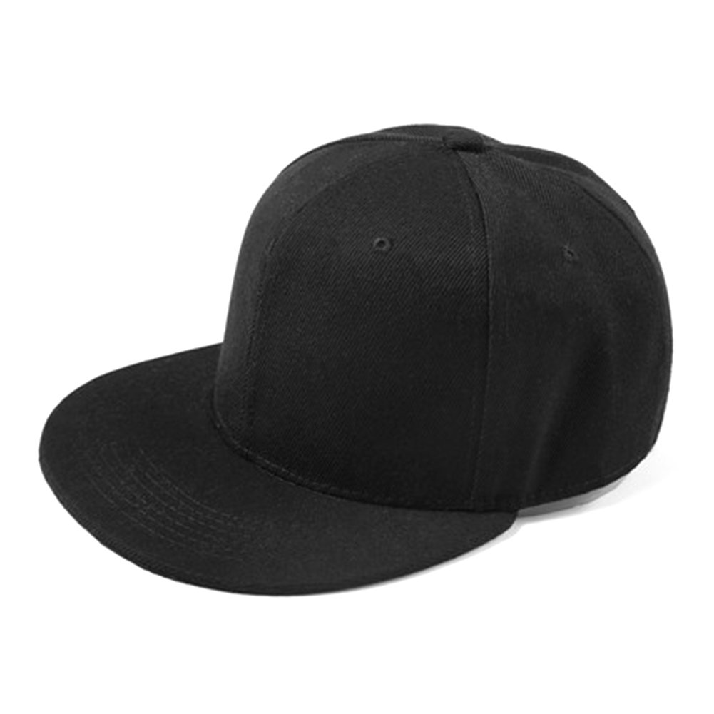Opromo Kids Child Cotton Flat Bill Snapback Adjustable Hat, Hip Hop Baseball Cap-Black-48PCS