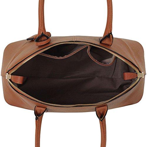 ANNA GRACE - Bolso al hombro de piel sintética para mujer Design 1 - Brown