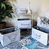 Diaper Storage Bin, White Canvas Fabric Basket with