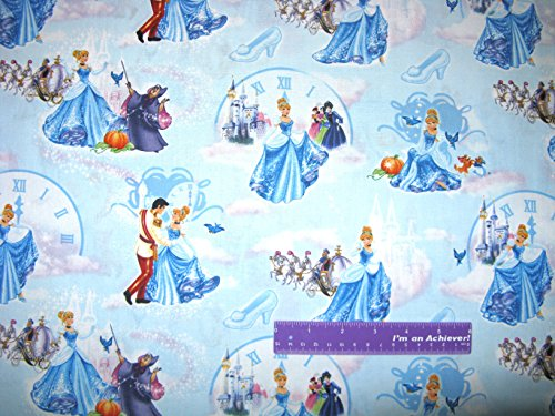 Princess CINDERELLA Prince Dance Clock At Ball Cotton Fabric BY THE HALF YARD]()