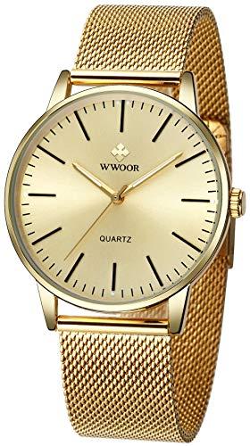 WWOOR Men Simple Analog Quartz Watch Mesh Band Luminous Hands Japanes Movement Fashion Casual Ultra-Thin Wristwatches