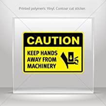 Decals Decal Caution Keep Hands Away From Machinery Tablet Laptop Dur (16 X 10.8 Inches)