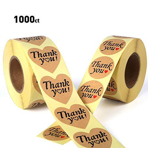 1000 Thank You Stickers, 1.5 Heart & 1.2 Circle Stickers - Removable and Adhesive Label Kraft Paper