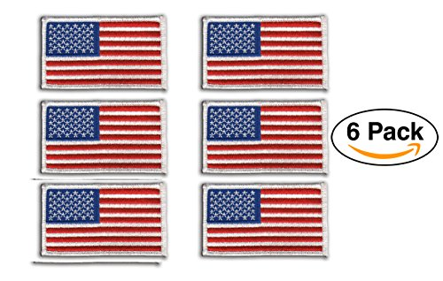 6 Pack - American Flag Embroidered Patch, white border USA United States of America, US flag Patch, sew on by Hero's Pride