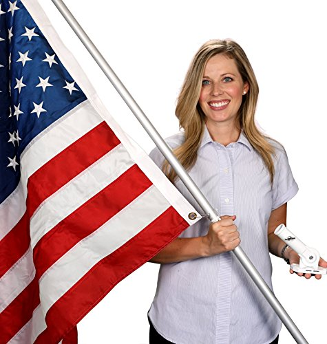 Flag Pole Kit - Includes 3x5 Ft American Flag Made in USA, 6 Foot Tangle Free Flag Pole, and Flagpole Bracket Holder Kit (Silver) - Flagpole Bracket Wall Mount