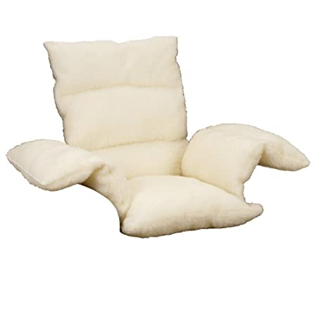 Attractive Faux Sheepskin Comfort Lower Back Support Upright Armchair Pillow Cushion    Cream. (Pack Of