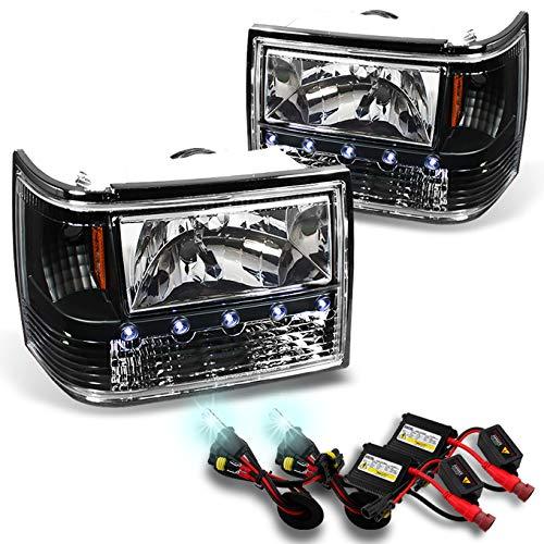 For 1993-1998 Grand Cherokee Black 1 Piece LED Headlights/Corner Signal/Bumper Lamps + 8000K HID Xenon Kit
