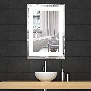 Decoraport Vertical Rectangle Led Bathroom Mirror Illuminated Lighted Vanity Wall