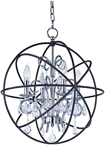 Maxim 25142ARPN Orbit 4-Light Pendant Single-Tier Chandelier, Anthracite and Polished Nickel Finish, Glass, CA Incandescent E12 Incandescent Bulb , 25W Max., Dry Safety Rating, Standard Dimmable, Bubble Glass Shade Material, Rated Lumens