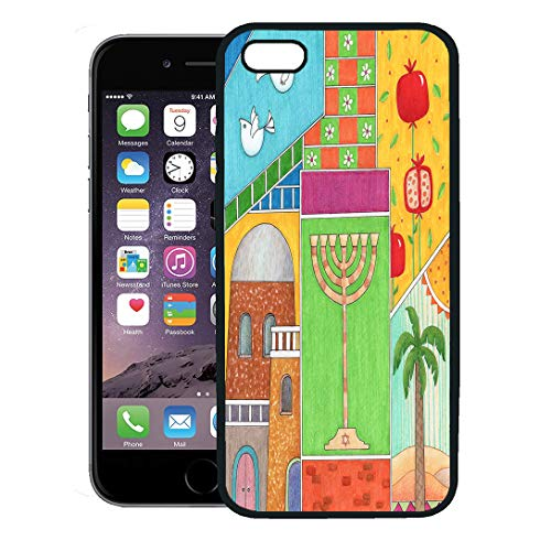 Semtomn Phone Case for iPhone 8 Plus case,Colorful Jerusalem Rosh Hashanah Greeting Whimsy of Jewish New Year Pomegranate iPhone 7 Plus case Cover,Black
